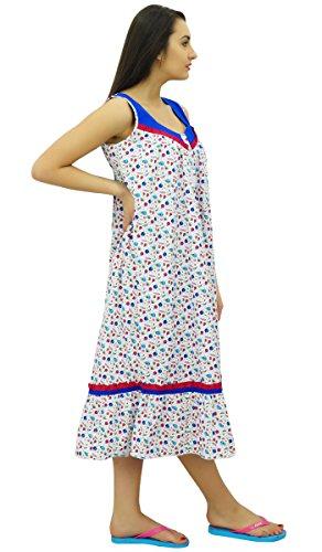 Bimba mi-mollet nightwear coton des vêtements de sans manches robe robe de nuit blanc et bleu