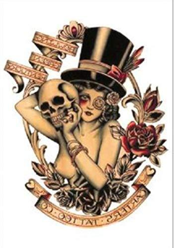 Adesivo per tatuaggi temporanei con teschio di bellezza per uomo adulto donna bambini impermeabile finto body art cover up set anchor graphic 21x15cm 5 pcs