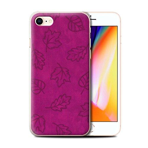 Stuff4 Hülle / Case für Apple iPhone 8 / Rot Muster / Blatt Muster/Textil Effekt Kollektion Rosa