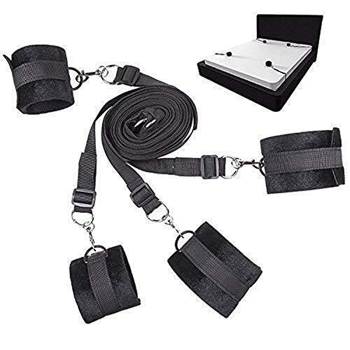 4pcs, Riemen verstellbar-weich und bequem-für Handgelenke und Knöchel-passt jeder Größe Matratze (schwarz)