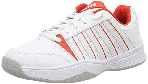 K-Swiss Performance Mädchen Court Smash Carpet White/Fiesta-M Tennisschuhe, Weiß, 2 000070586, 34 EU