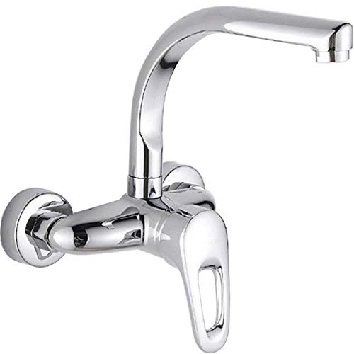 Wasserhahn Chrome Wall Mounted Bathroom Kitchen Faucet Dual Handle Basin Sink Mixer Swivel Spout Hot Cold Water Tap 1 Install Hole Fauce -