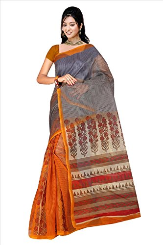 Fabwomen Net Saree With Blouse Piece (_Orange_Free Size)