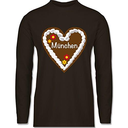 Oktoberfest Herren - Lebkuchenherz München - Longsleeve / langärmeliges T-Shirt für Herren Braun