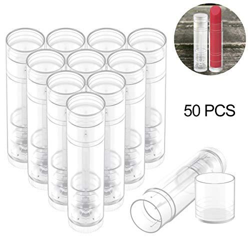 OZAUR 50 Stück Leer Lippenstift Lippenpflege Leere Behälter 5g Kunststoff Lippen Balm Tubes Container für DIY Hausgemachte Lippenbalsams Nachfüllbar mit Kappe (Transparent) - Balm-lippenstift