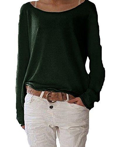 Jevvia Damen Langarm T-shirt Rundhals Ausschnitt Lose Bluse Hemd Pullover Oversize Sweatshirt Oberteil Tops ,Farbe Dunkelgrün , Gr. Large / EU 44