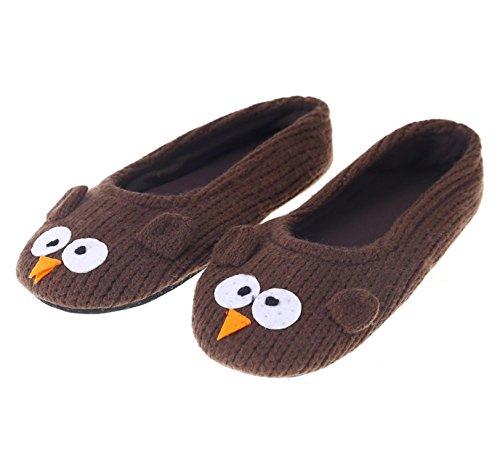 Plüsch Hausschuhe Flauschige Hausschuhe, Anti - Rutsch - Warm, Wolle Slipper, Die Schuhe zu Hause Pantoffeln (Braun) (Dies Ist Halloween Home)