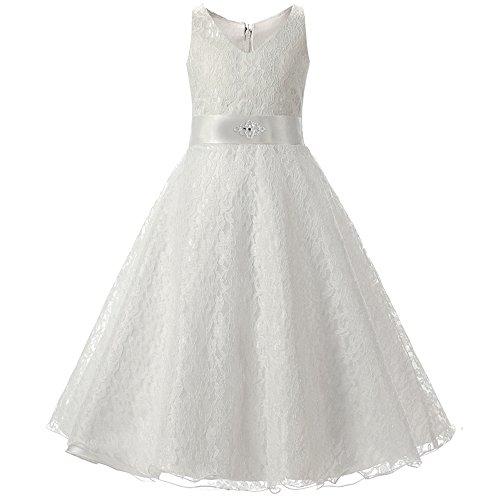 BOZEVON Kinder Kleid Mädchen Abendkleid Spitzenkleid Blumenkleid Ärmellos Party Festliches