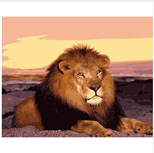 LIWEIXKY Rahmenlos Lion Sunset Gemälde Von Zahlen Tierkunst Leinwand Gemälde Mit Acrylfarben Für Wohnkultur 40X50Cm