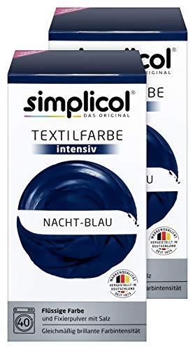 Simplicol Textilfarbe Intensiv (18 Farben), Nacht-Blau 1808 2er Pack: Einfaches Textilfärben in der Waschmaschine, Komplettpackung mit Färbemittel und Fixierpulver Nacht Farbe