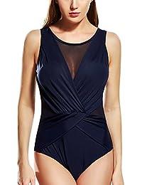 Feoya - Bañador Mujer Push-Up Traje de Una Pieza Ropa de Baño Deportivo Apretado Swimsuit Atlético sin Espalda Triángulo