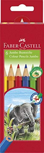 Faber-Castell 111206 - Buntstifte Jumbo, Inhalt: gelb, orange, rot, blau grün und braun, 6er Kartonetui, 1 Stück
