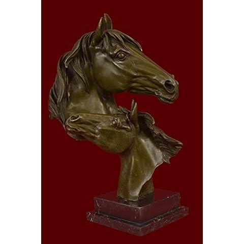 Escultura bronce estatua...Envío gratis...Hermosa puro monte dos caballos Caballo Busto(DW-009-JP)Estatuas estatuilla estatuillas desnuda Oficina y Decoración del hogar Coleccionables Primer Día regal