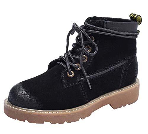 Leder Ankle Boot Spitze (SIPENGFEI Frauen Lässige Leder Spitze Kampfstiefel 2018 Herbst Winter Runde Zehe Low-Rise-Plattform Martin Boots,Black,36EU)