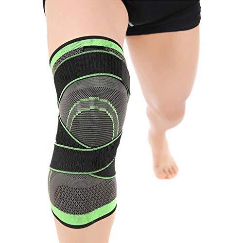 Gereton Support Kniebandage 3D Weaving Knee Brace Atmungsaktive Sleeve Support Verstellbare Knieschoner Laufen Joggen Verletzungen Rehabilitation, XL,