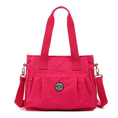 LFGCL Damen Tasche Plissee Leichte wasserdichte Nylontasche Weibliche Leichte Handtaschen Schulter Mutter Mütterliche Mamabeutel, Rose rotLady Taschen -