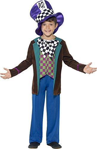 Smiffys Kinder Deluxe Hatter Kostüm, Jackett, Hose und Hut, Größe: M, (Ideen Outfit Alice Im Wunderland)