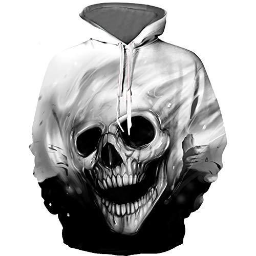 AFYH Halloween Hoodie, DIY Pullover/Herrenbekleidung/Damen Jacken / 3D Drucke/Knochen/Wolf Kopf/Polyester/Verdicken Warm/Loose Comfort,0051,L