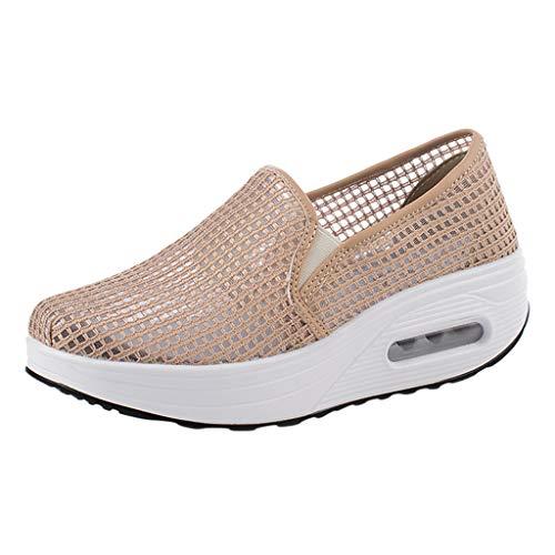 Ziyou Damen-Knöchel-Art- und Weiseflache Müßiggänger Beleg auf Menge römischen beiläufigen Schuhen(36, Rosa) -