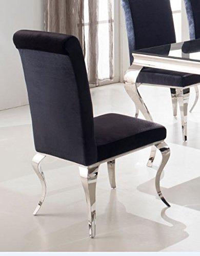 Esszimmerstuhl Luca barock Design Samtstoff stof schwarz Stuhl Stühle Esszimmer Esszimmerstühle...