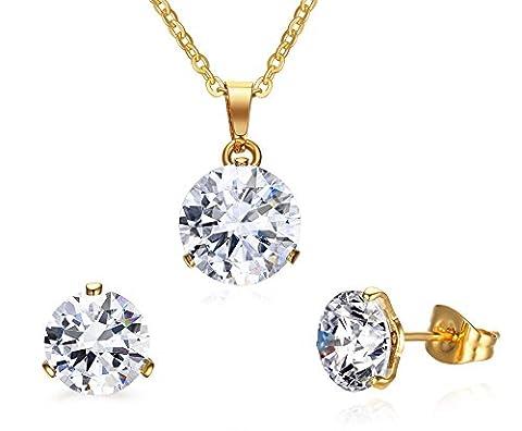 Vnox l'engagement tainless steel cz diamond l'éternité mariage bijoux,collier et boucles d'oreilles pour les femmes et les filles