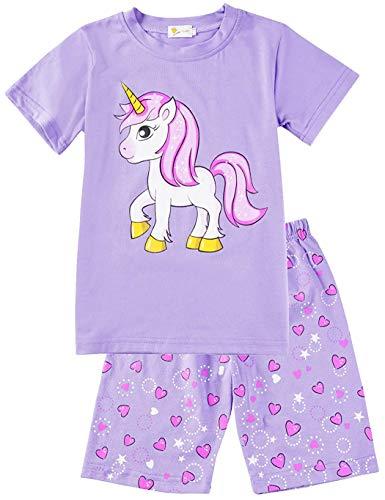 Little Hand Schlafanzug Mädchen Einhorn Eiscreme Kinder Sommer Zweiteiliger Baumwolle Kurz Nachtwäsche T-Shirt und Hose, Einhorn 2, 116 (HerstellerGröße: 130)