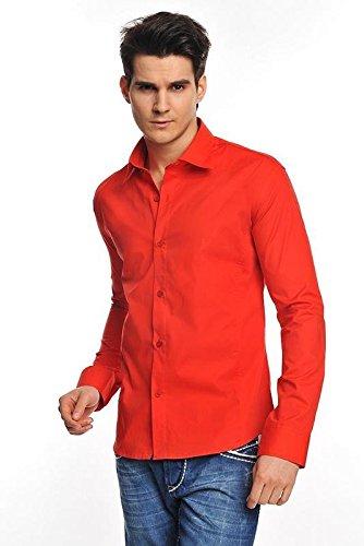 Tazzio Slim Fit uomo camicia a maniche lunghe 9000 Rot S