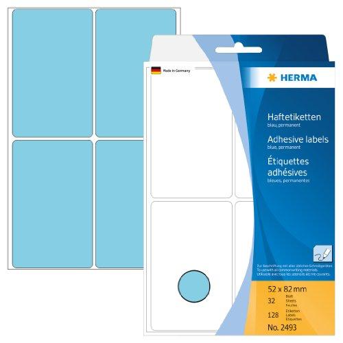 Herma 2493 Vielzweck Etiketten farbig blau (52 x 82 mm) 128 Klebeetiketten, 32 Blatt Papier matt, selbstklebend, Handbeschriftung -