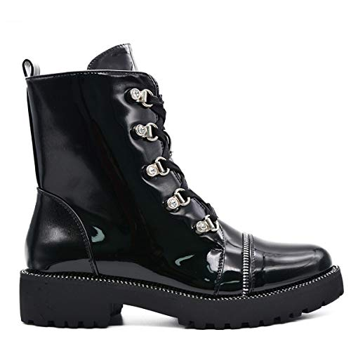 CucuFashion Boots Women Biker Gothic Shoes Military Black Punck Womans Side Zip Men Punk Biker Boots Women Goth Boots
