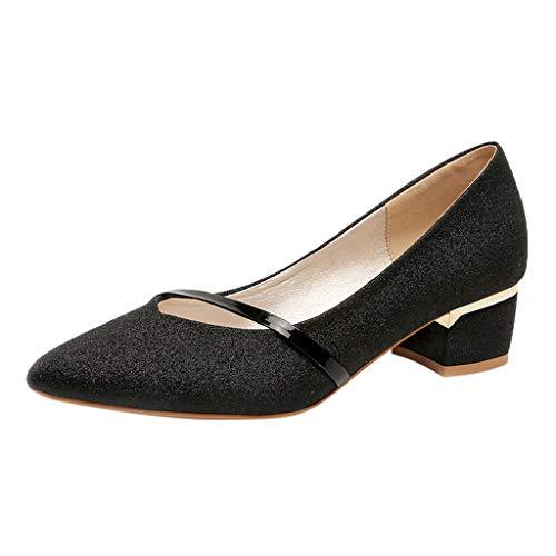 B-commerce Mode Frauen Damen Bling Quadrat Ferse Frühling Sommer Einzel Schuhe Pointed Toe Freizeitschuhe Arbeitsschuhe -