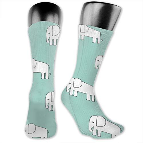 Elephant Mint Elephants Fabric Nursery Baby Animals Fabric Unisex Athletic Full Crew Socks Running Gym Compression Foot