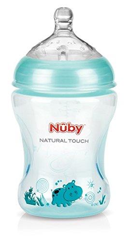Nuby NT68028 Biberon in Polipropilene, Verde, Flusso Lento, 0 Mesi, 240 ml