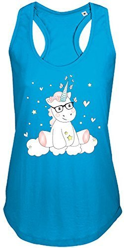 Livingstyle & Wanddesign Ladies Damen Women T-Back Tank Top Moka Tanktop Sommertop Damentop Unicorn Einhorn Cutie mit Brille (Aqua, L) (Tank Top Mädchen Aqua)