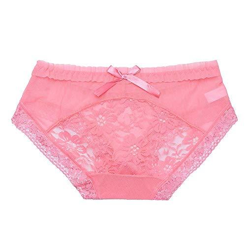 Qiusa Damen Mesh Dessous Schlüpfer G-String Thongs Höschen Unterwäsche Slips (Farbe : Rosa, Größe : Einheitsgröße)