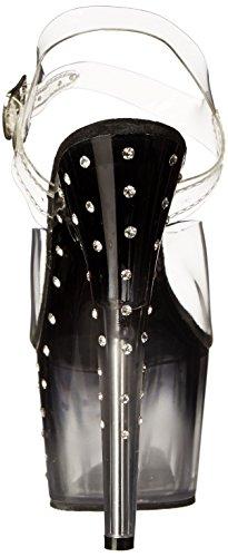 Pleaser Stardust 708T - Sandales Plateforme Femme Transparent (Clr/Blk Clr)
