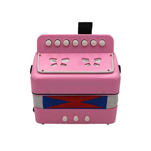 JHKJ Akkordeon, Kinder Mini Accordian Spielzeug - 7-Taste 2 Bass Educational Musikinstrument - für Frühkindliche Lehre,Rosa