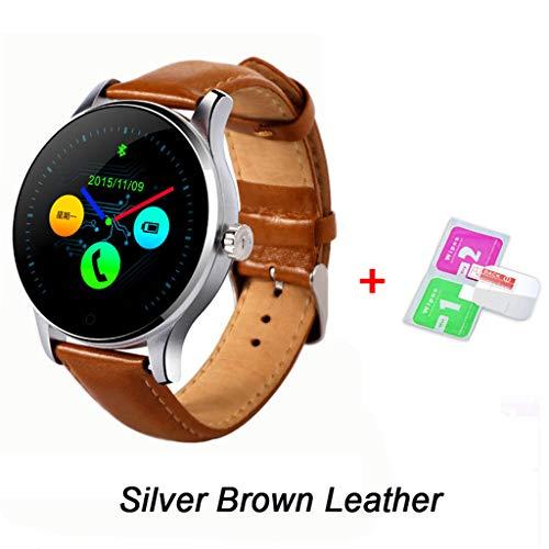 jingjingqi reloj inteligente k88h bluetooth smart watch cardiofrequenzimetro fitness tracker smartwatch sport braccialetto intelligente per android ios, orologio in pelle marrone