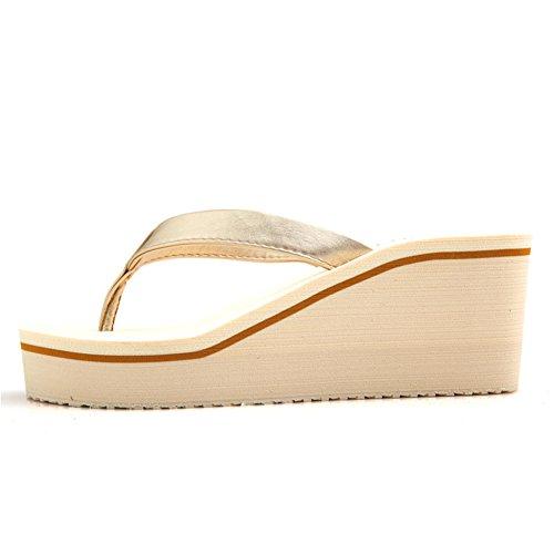 high heel flip flops/Lady prevenzione frana tarda estate con spessore clip/muffin spiaggia sandali e ciabatte/ C