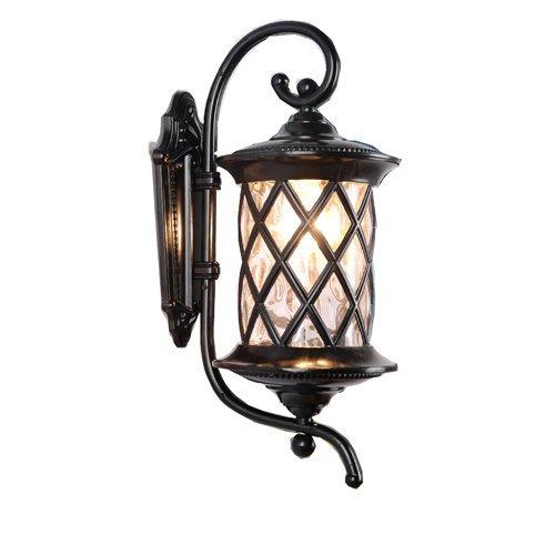 * Lampada da parete per esterni in alluminio in stile europeo retro lampada da parete per esterni impermeabile balcone di lusso (colore: nero altezza 61 cm)