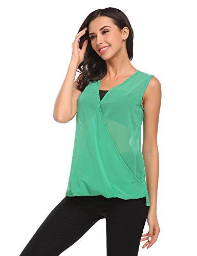Damen Sexy Chiffon Transparent Shirt V-Ausschnitt Ärmellos Bluse Oberteil Top Einfarbig Grün