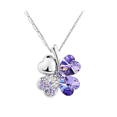 Gespout Diamant Herz Form Halskette Ohrringe Elegant Frauen Schmuck Kristall Set aus Kristall Anhänger Clover Halskette, Platin, violett, M (Herz Kristall-halskette)