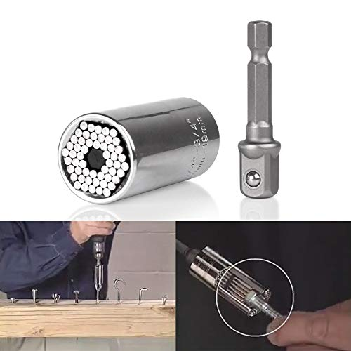 OurLeeme 2 Stück 7-19 mm Gator Socket Adapter Universal Grip Ratsche Schraubenschlüssel Power Drill Adapter Schraubendreher Set Werkzeug (1 Stücke) (Drill-schraubendreher-set)