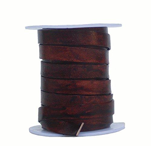 Antik-braun Cherry (Ensuite Rindleder Flachband antik im Used Look Cherry braun, Länge 10 m, Breite 10 mm, Stärke ca. 1,3 mm)