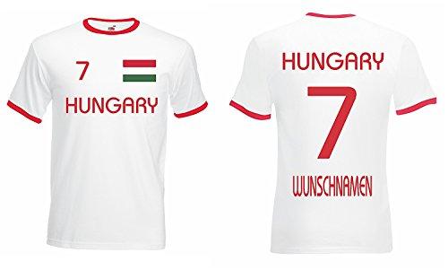 Ungarn Retro Trikot mit Wunschname und Wunschnummer EM 2016 weiss-L