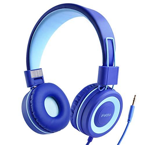 Ifecco Cuffie per Bambini, Cuffie Stereo Pieghevoli con Cavo da 3.5mm Senza Grovigli - Cuffie On-Ear per Bambini per Scuola Casa e Viaggi, Blu