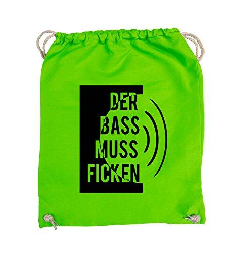 Comedy Bags - DER BASS MUSS FICKEN - Turnbeutel - 37x46cm - Farbe: Schwarz / Pink Hellgrün / Schwarz