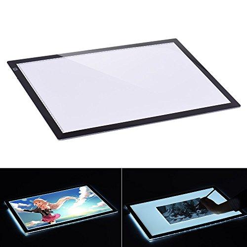 Aibecy Leuchttisch, A2/A3 LED Leuchtkasten, 7.7mm Ultra Dünn Leuchtplatte, Einstellbare Helligkeit, Dimmbare Leuchtrahmen mit EU Ladegerät für Handwerk Animations Malerei (60 x 40cm)