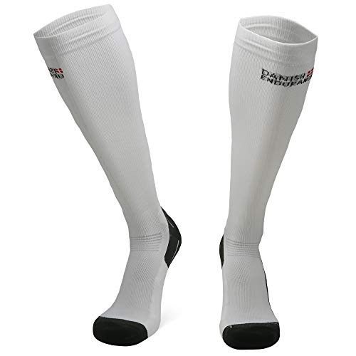 DANISH ENDURANCE Graduated Compression Socks 1 pack (White, EU 43-47 // UK 9-12)