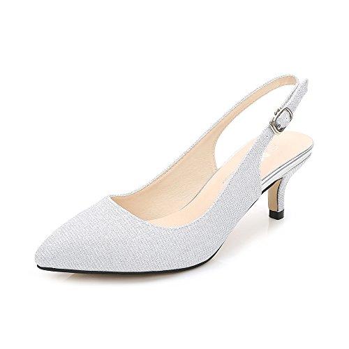 OCHENTA Damen Sandalen Spitzschuhe Slingback Kleid Kitten-Heel Silber-Glanz Asiatisch 44/EU 42