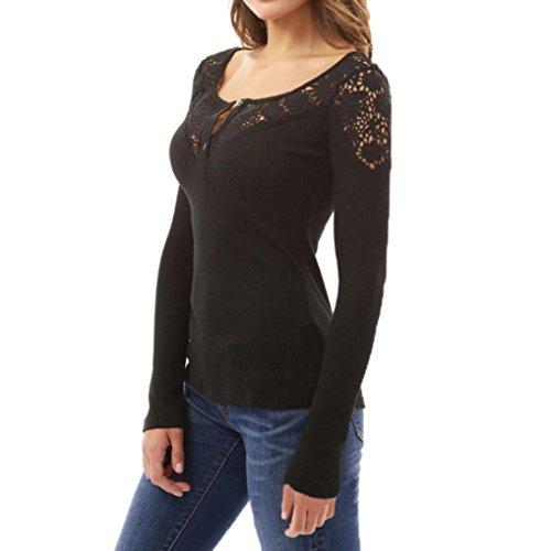 Sweatshirt damen kolylong frauen elegant spitze bluse mit for Oberteile damen elegant